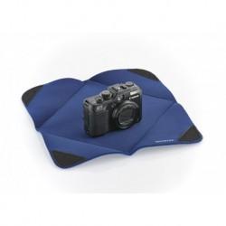 Protection APN pour objectif en tissu-mousse bleu 28x28 cm